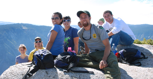 UC Merced students hiking in Yosemite National Park