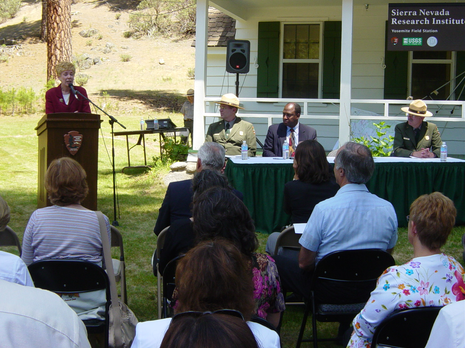 UC Merced founding Chancellor giving speech at SNRI Field Station